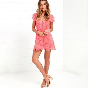 Coral Pink Lace Shift Dress